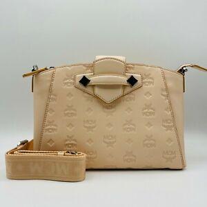 $725 New MCM Beige Monogram Leather Essential Crossbody Tote Bag MWRASSE06II001
