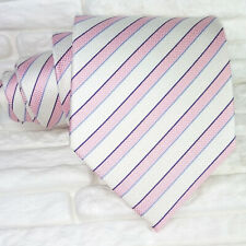 Wide white & pink neck tie silk Morgana Italy wedding / business mens ties
