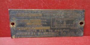 VINTAGE GE AUTO TRANSFORMER EMBLEM BADGE ID INFORMATION SIGN