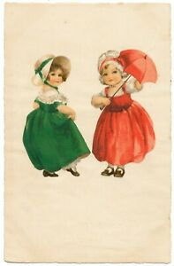 Euro Ellen Clapsaddle - Two Girls, One in Green Dress, the Other Wears Red
