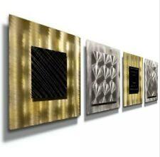 Set Of 4 Wall Sculptures Metal Wall Art Modern Silver Black Gold Decor Jon Allen