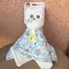 Blankets and Beyond Owl Security Blanket Nunu Pacifier Holder Blue Gray White
