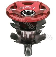 """Acor CNC Alloy Headset Topcap & Star Washer 1.1/8"""" MTB Bicycle Bike Red Top Cap"""