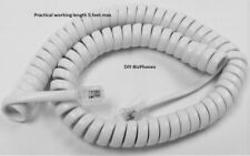 Generic Handset Cord Bright White Short(9 Ft) Phone Coil 4P4C New In Factory Bag