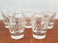 """Vintage Etched Shot Glasses, 2-1/4"""", SET (5), Arrowhead design, MCM, EUC"""