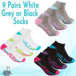 Womens Ladies 9 Pairs Trainer Liner Ankle Socks Walk Run Jog Gym Cotton Rich 4-8