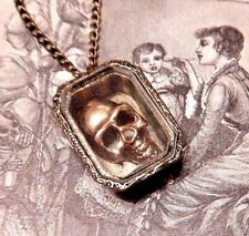 BRASS SKULL IN BOX NECKLACE coffin gothic vampire pirate curiosity steampunk F6