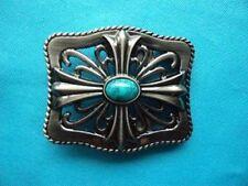 Ornate Templar Knight Cross Blue Stone Jewel 3D Belt Buckle