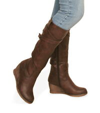 Blue Banana - New Black or Brown Distressed Leather Effect Wedge Boot -Knee High