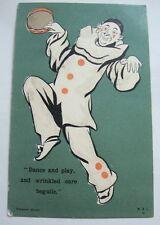 Dancing Pierrot or Clown Vintage Postcard 1900s Posted