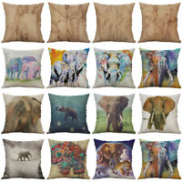 "18"" Elephant pattern Cotton Linen Cushion Cover Pillow Case Home Decor"