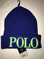 BNWT Ralph Lauren POLO Royal Blue Beanie Hat. Gift Idea!