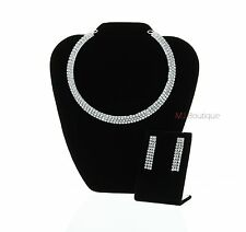 Crystal Choker 3 Row Necklace & Earrings Jewelry Set Bride Wedding gift for her