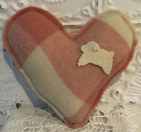 New Handmade Heart Pillow  Vintage Wool Blanket  Vintage Wool Sheep