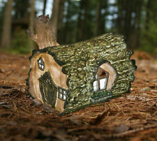 Solar Powered LED Garden Ornament Fairy log House Pixie Log Home Fairy Garden
