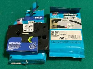 Lot of 2 P Touch TZE Tape TZe-FX231 Black Print White Tape Cable Wire Label