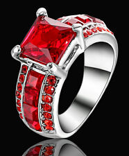 Princess Cut red ruby Wedding Engagement Band Ring white Rhodium Plated Size 7