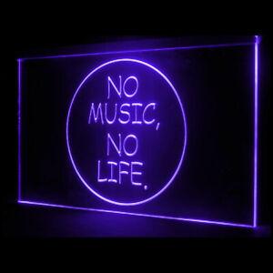 140019 No Music No Life Headphones Media Roll Rock Display Neon Sign