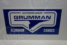 """GRUMMAN CANOE USA DEALER SIGN DIE CUT Sign MINT ENAMEL 14"""" BY 24"""". GREAT COLORS"""