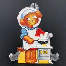 Vtg 40s Valentines Card Chef Mechanical Moving Eyes Dog Iron Skillet Pipe Stove