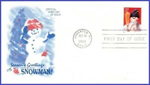 USA3 #3677 U/A ARTCRAFT FDC   Snowman Blue Plaid Scarf s/a