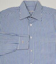 Kiton Su Misura Blue/White Striped Handmade Cotton Dress Shirt (41) 16-32/33
