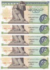 EGYPT 25 PT 1970 P-42 sig/ NAZMI #13 LOT X5 AU-UNC NOTES */*