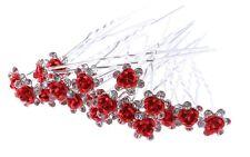 Lot de 3 épingles chignons fleur rouge et strass , bijou de cheveux mariage