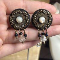 VTG Artisan Victorian Revival MOP Earrings Runway Studio Art Dangle Crystal
