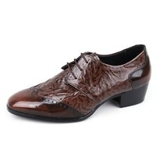 Men's leather wing tips open lacing wrinkle shape high-heels brown dress shoes