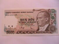 1990 Turkey 5000 Lirasi Ch CU Crisp Uncirculated Turkiye Currency Banknote P-198