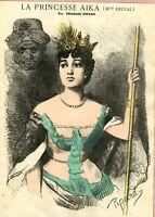 Antique Print-PORTRAIT-MADEMOISELLE DELVAL-PRINCESSE AIKA-Pipard-1867