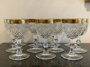 Vintage Moser Czech Cut Crystal Wine Glasses with Gold Rim Set of 11