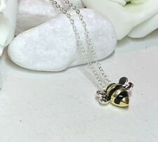 925 Sterling Silver Jewellery Necklace Chain Solid Cute Bumble Bee Pendant gift