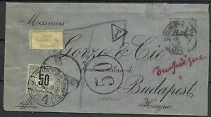 France covers 1920 Wandercover Compiegne to Budapest with Hungarian DUE/ Refusé