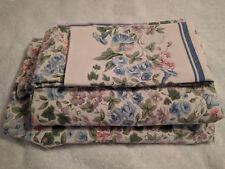 DAN RIVER VINTAGE QUEEN SHEETS SET FLAT FITTED ONE STANDARD PILLOW CASE FLORAL