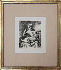 Listed French Artist JEAN FRANCIS MILLET, Etching On Chine-Collé, 1861