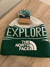 NWT THE NORTH FACE RETRO POM BEANIE HAT Limited Edition Green White ($42 Retail)