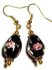 Short Black Pink Earrings Glass Beads Antique Vintage Tibetan Style Gold Artisan