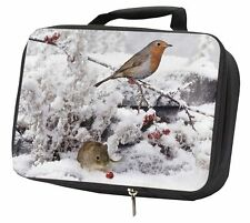 More details for snow mouse and robin print black insulated school lunch box bag, amo-5lbb