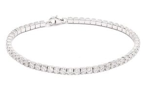14k White Gold Fn 7.00 Ctw Round Cut Diamond VVS1 Brilliant 3mm Tennis Bracelet