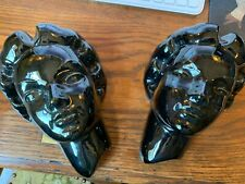 Vintage Set Of Two Frankoma Womens Black Head Vase Wall Pocket And Free Shipping
