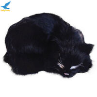 Lifelike Black Cat Plush Soft Animal Doll Simulation Decoration Kids Toys Gift @