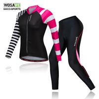 Women Long Sleeve Cycling Jersey Pants Suit Bike Tops Padded Trousers Zipper