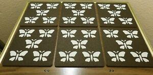 """6 - Butterfly Cork Hot Pads - 6 3/8"""" x 6 3/8"""" x 1/4"""""""