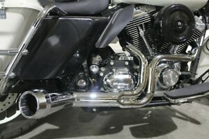 Harley Exhaust System Chrome FLH FLT Offset Megaphone 2 Into1 V-Twin 29-0026 CE