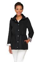Dennis Basso Water Resistant Anorak Jacket with Detachable Hood, Black, S , $61