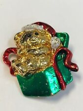 Christmas Teddy Bear in a Present Brooch Pin