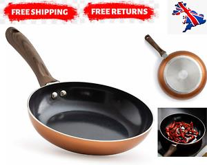 Copper Frying Pan Set Induction Non Stick Coated Wooden Handle 20cm 24cm 28cm