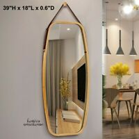 Large Wall Mirror Irregular Leather Rope Bedroom Bathroom Vanity Farmhouse Decor